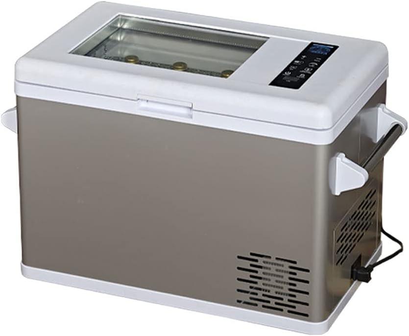 SHENXINCI Vinoteca 8 Botellas Pequeño Congelador Móvil/Enfriador de Vino para Automóvil, Puerta de Cristal Doble, Rendimiento de Refrigeración: -20~10 ℃,DC 12V / 24V,Plata