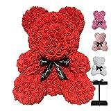 Fleurs artificielles en peluche 40 cm - Cadeau de Saint-Valentin - Rose ours (rouge)