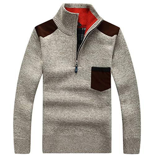 Ldjvfb New Winter Mens Pullover Knitted Sweater Male Thick Casual Pullover Patchwork Warm Pocket Sweater Standing Collar Sweatshirt (Color : Beige, Size : Small)