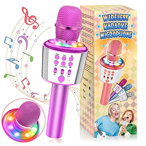 DEVRNEZ Juguetes Niña 4-12 Años, Karaoke con Microfono Inalambrico Regalos para Niñas de 4-16 Años Regalo Niña 7-18 Años Mas Vendidos Regalo Navidad Niño Micrófono Niños Regalos para Familia