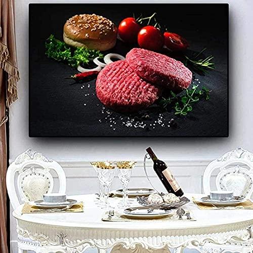 SXXRZA Impresiones para Paredes 40x60cm Sin Marco Verduras abstractas Modernas Carne Hamburguesa Filete Cocina Pintura Cuadros Arte de la Pared impresión decoración de la Sala de Estar