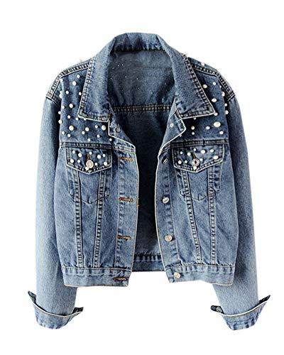 Damen Jeansjacke Übergangsjacke Leichte Freizeit Jacke Denim Mit Perle Blau L