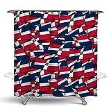 Cortina de ducha de poliéster repelente al agua, incluye 12 ganchos – Extra ancho – Bandera de República Dominicana Wave Spa cortina accesorios de baño