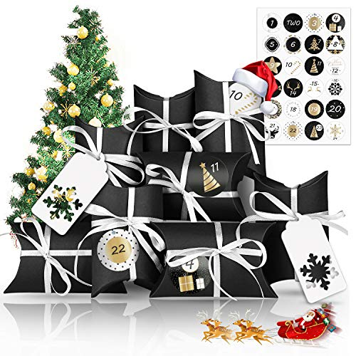 Vivibel Christmas Advent Calendar 2020, 24 Days Christmas Advent Calendar Bags with 24 Number Stickers, Fillable DIY Xmas Countdown Christmas Decorations, DIY Candy Bags for Holiday Xmas