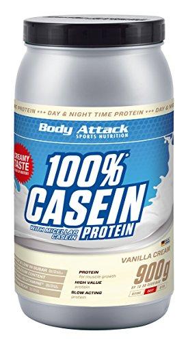 Body Attack 100% Casein Protein, reich an essentiellen Aminosäuren - Muskelaufbau und Erhalt, Low Carb - für Sportler, Athleten & Figurbewusste - Cookies n Cream, 900g Eiweißpulver