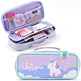 ANGOOBABY Cute Pencil Case Unicorn Pencil Pouch Medium Capacity Portable Multifunction Pen Bag with Compartments for Girls Kids Teen -Purple