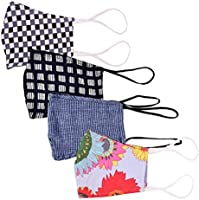 Glammore Cotton Unisex Reusable Mouth Nose Cover Anti-Pollution Cloth Mask - Assorted Print & Color, Free Size, Pack of 4