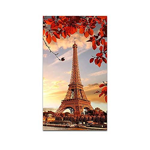 ZHJJD Francia Torre Eiffel con Hojas de otoño Pinturas en Lienzo Paisaje Moderno Arte de la Pared Poster e Impresiones de otoño para la Decoracion de la Salon de Estar 50x100cm Sin Marco