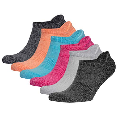 VRD - Bamboo Womens 6-Pack Performance Heel Tab Athletic Soft Comfy Socks for Running, Workout Outdoor Sports - Women Ankle Low Cut Socks For Girls - Size 5-10