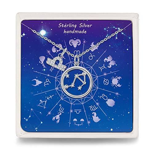 Qings Waage Sternzeichen Kette- Horoskop Astrologie Anhänger Halskette für Frauen, 925 Sterling Silber Stern Filigrane Kette