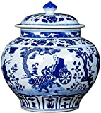 MiduoHu Jarrones De Cerámica, Tarro de Almacenamiento Cuesta Abajo Guiguzi Azul y Blanco Antiguo de Porcelana con Tapa decoración de decoración de jarrón de Tarro General