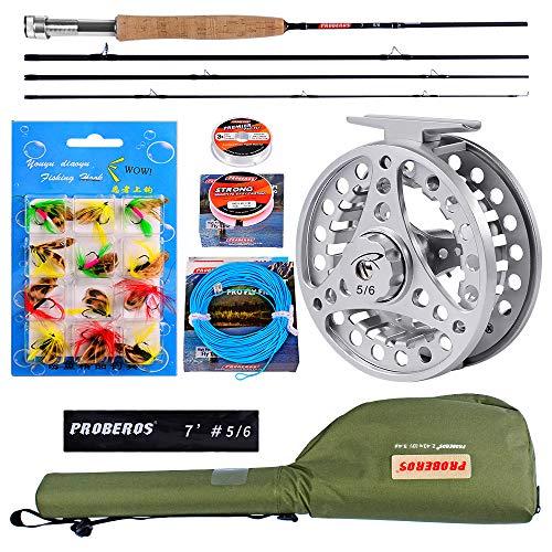 PROBEROS Fliegenfischen Rollen und Ruten Combo - 4 Stück 2.1M Fliegenruten Komplettes Starterpaket - Fliegenfischen Komplettes Sets
