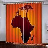 MAGICXYZ Cortinas Opacas Cortina Cortinas Aislante Térmica Aislante Opacas Mapa de África En Poliéster para Niño Habitacion Dormitorio Cocina Salón,2 Paneles,150 x 166cm