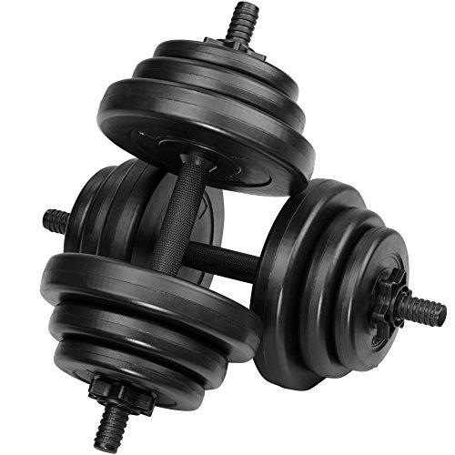 TecTake Kurzhantel | Hantel mit Kunststoffüberzug | Geriffelte Grifffläche und Sternverschluss | -Diverse Gewichte- (20 kg | Nr. 402586)