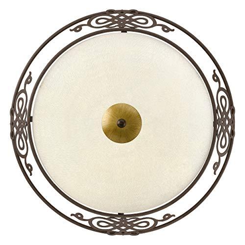 EGLO Wand-/Deckenleuchte Ø 39,5 cm, Stahl, E27, Beige/Antik-braun, 39,5 x 39,5 x 13,3 cm
