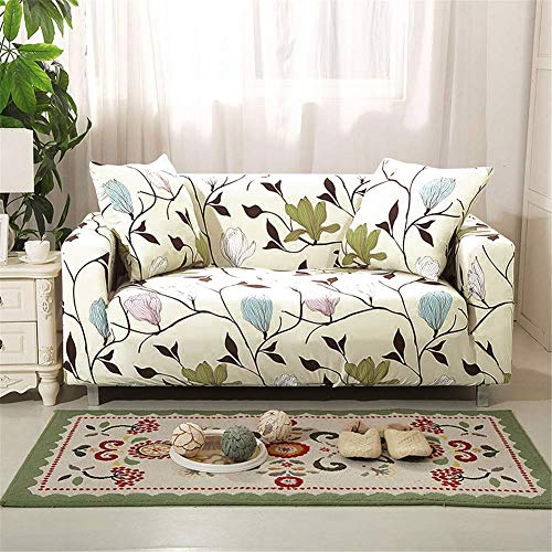 nordmiex Stretch Sofa Slipcovers Fitted Furniture Protector Printed Sofa Cover Stylish Fabric Couch Cover with 2 Pillowcases for 2 Cushion Couch(Loveseat-2 Seater,Magnolia)
