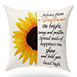 Best Gifts for Children,Sunflower Print Throw Pillow Cover,Inspirational Quotes Advice from Sunflower, Linen Decorative Pillows Cover Case for Sofa Bedroom Room Office Porch Decor,18x18 inch