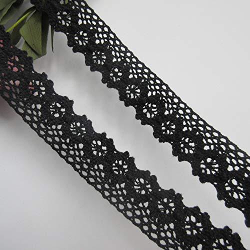 5 mètre en coton crochet dentelle bord ruban de 2,5 cm de largeur de bordure noir vintage garnitures tissu brodé applique couture artisanat robe de mariage carte décoration vêtements chapeaux broderie