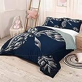 HELLOLEON Zodiac Sagitario paquete de 3 (1 funda de edredón y 2 fundas de almohada) de cama, diseño de flecha a mano, con hojas y flores, en poliéster, color azul oscuro y gris