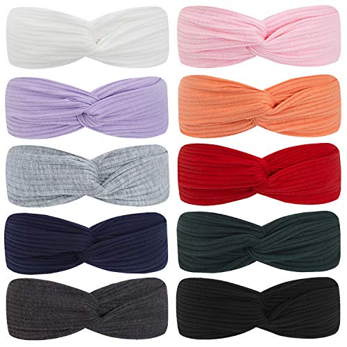 Headbands Soft Knitting 10 pcs,Elastic Headbands For Girls Women Hair Accessories Solid Color Turban Headbands (10 Colors Set 1- red white pink purple orange gray black dark green navy blue)
