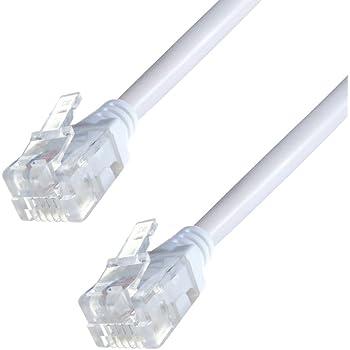 Blanc Microfiltre 15m RJ11 C/âble de Rallonge ADSL Cordon Internet Haute Vitesse BT Large Bande M/âle vers M/âle Routeur et Modem vers RJ11 Prise T/él/éphonique Fil de Ligne Terrestre