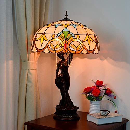 Klassisch Edison Lampenschirm Ajustable Deckenleuc Europäische Retro Kreative Tiffany-Tabellen-Schreibtisch-Licht-Nachtlicht Glasmalerei Barock Kunst-Glas Retro Wohnzimmer Beauty Tisch, Schreibtisch-L
