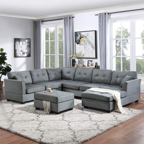 UNIROI Gray New Sectional, Chaise Longue and Storage Ottoman, U-Shape Upholstered 7-Seater Sofa Couch Two Pillows for Living Room Home