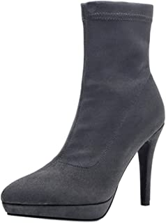 ELEEMEE Women Stiletto Ankle Boots Pull On Platform