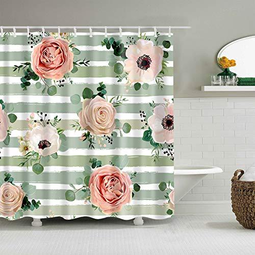 XCBN Cortina de Ducha Impermeable con Estampado de Rosas de Girasol, Cortinas de baño para decoración del hogar, mampara de baño Lavable A46 90x180cm