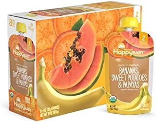Happy Baby Organic Clearly Crafted Stage 2 Baby Food Bananas, Sweet Potatoes & Papayas, 4 Ounce Pouch (Pack of 16)