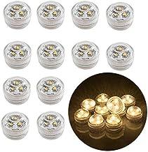 12 piezas sin llama LED velas de luz de té con pilas sumergibles a prueba de agua luces decorativas para florero pecera boda centro de mesa luces de fiesta de Halloween blanco cálido