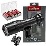 SureFire Mini Scoutlight Pro Tactical Light 500 Lumen Compact LED 340C Bundle with 4 Extra CR123A Batteries and a Lightjunction Battery Case
