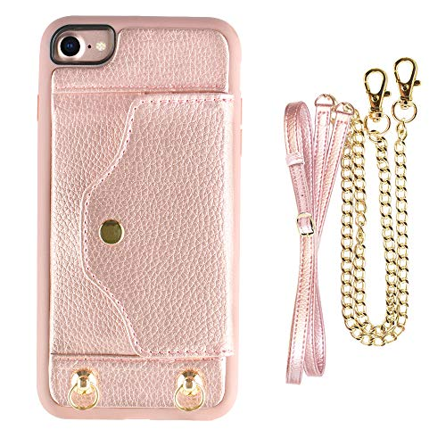 """iPhone SE2, iPhone 7 8 Wallet Case with Card Holder Slot, LAMEEKU Shockproof Leather Case, Portable Crossbody Case with Chain Strap and wristlet for Apple iPhone 7 / iPhone8 /IPhone se2 4.7"""" Rose Gold"""