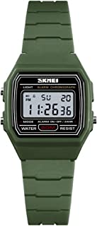 TONSHEN Small Size Womens Fashion Digital Watch for Girl Outdoor Military 50M Waterproof LED Electronic Multifunction Plastic Case with Rubber Band Sport Watchwa (Green)