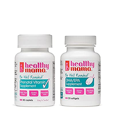 Healthy Mama Be Well Rounded Prenatal Vitamin and DHA Supplement System Softgels, 30 Count
