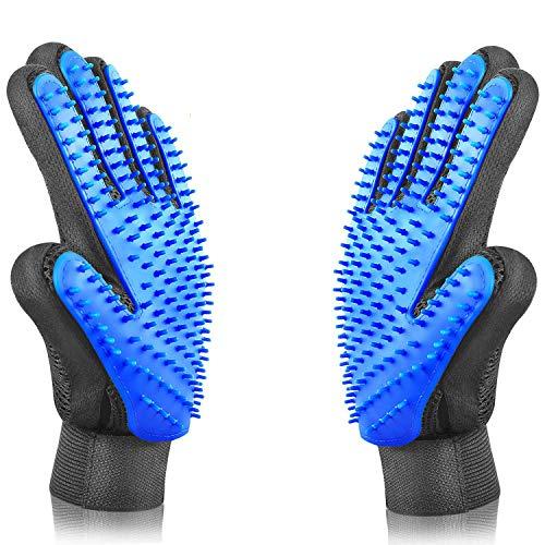 ALLRONDO TESTSIEGER doppelseitiger Fellpflegehandschuh - Haustier Bürsten Handschuh für Hunde und Katze - Massagehandschuh - 2er Pack