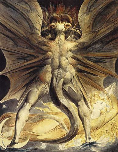 William Blake Giclée Leinwand Prints Gemälde Poster Reproduktion(Der große rote Drache und die Frau gekleidet in der Sonne)