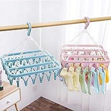 CHOUREN Multi-Function Clip Hanger Foldable Drying Rack Windproof Bra Underwear Socks Clip Hanger (Color : Blue)