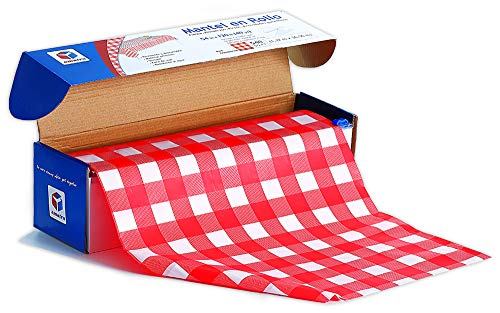Amatra Disposable Red Checkered Plastic Tablecloth Roll | 54 in X 120 ft (40 yd) | Table Cover for Party, Picnic, Banquet & Kid's Activities I for Any Shape & Size Tables