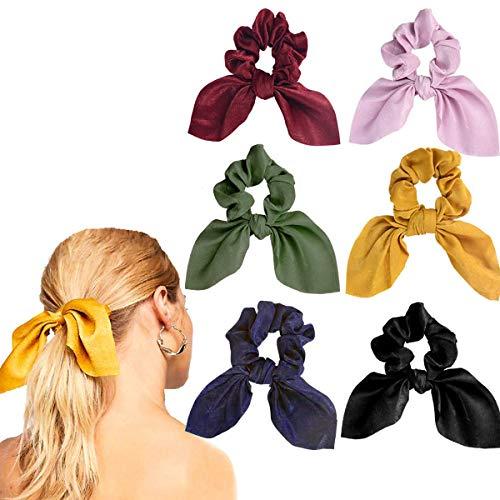Lurrose 6 pezzi fiocchi per capelli elastici a forma di coniglietto per capelli in tinta unita elegante fascia per capelli per le donne