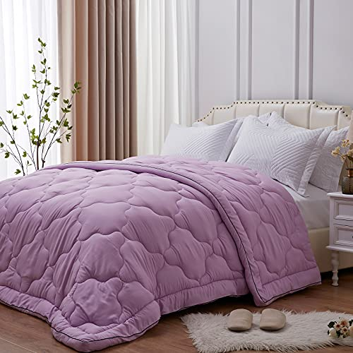 NexHome All-Season 100% Microfiber Down Alternative Comforter for Twin Size Bed Quilt Cozy Soft Summer Lightweight Comforter (Purple,Twin)