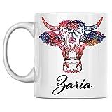 N\A Taza de Vaca Personal Nombre Zaria Taza de café de cerámica Blanca Impresa en Ambos Lados, cumpleaños para él, Ella, niño, niña, Esposo, Esposa, Hombres y Mujeres
