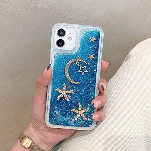 Miagon Coque Liquide Case pour Samsung Galaxy Note 10 Plus,Sables Mouvants Glitter Sparkle Floating 3D Diamant Étui Transparent Housse Cover,Lune Star Bleu