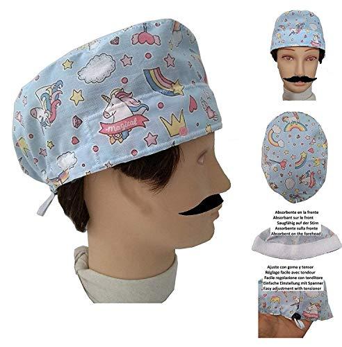 OP Haube EINHORN für kurzes Haar, Chirurg, Zahnarzt, Tierarzt, Küche Handtuch auf der Stirn, einstellbar mit Spannrolle und Gummi