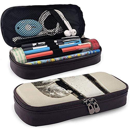 Leder Bleistiftbeutel Federtasche Koala und Bier mit Reißverschluss Echtes Leder Schreibmappe für Studenten Geschäftsleute und Künstler