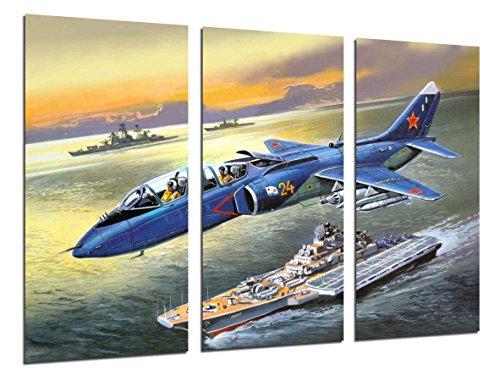 Cuadro Fotográfico Aviacion, Dibujos Aviones Antiguos, Aviones de Guerra Tamaño total: 97 x 62 cm XXL