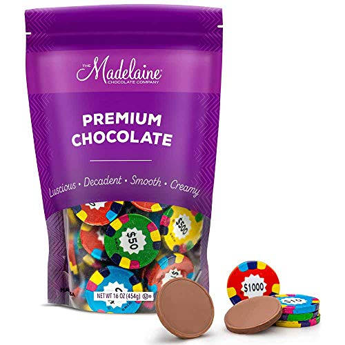 Madelaine Solid Premium Milk Chocolate Poker Chips (Assorted Coins, 1 LB)