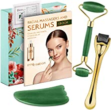 3-in-1 Derma Roller, Jade Roller and Gua Sha Facial Tool Set. With Titanium Microneedle Roller, REAL Stone Jade Face Roller and Eye Roller, Guasha Scraper, and Serum Guide. Safe Microneedling at Home