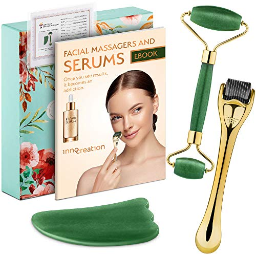 3-in-1 Derma Roller, Jade Roller and Gua Sha Facial Tool Set. With...