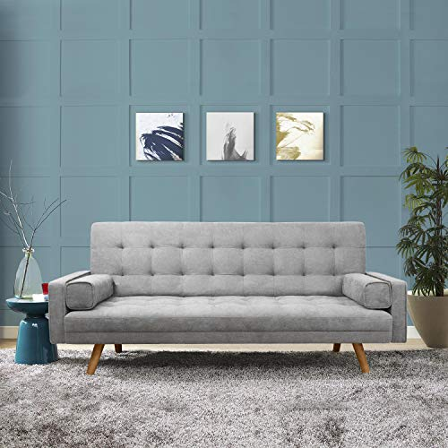 Homall Tufted Sofa Couch Mid-Century Modern Sofabed with Tapered Wood Leg, Gray